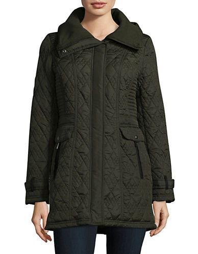 Weatherproof Long Quilted Jacket with Knit Collar-LEAF-Small