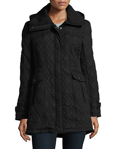 Weatherproof Long Quilted Jacket with Knit Collar-BLACK-Small