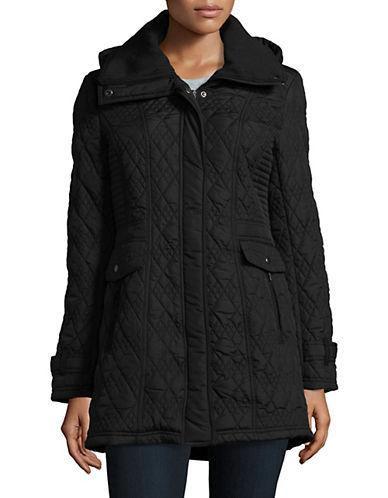 Weatherproof Quilted Hooded Walker Jacket-BLACK-3X