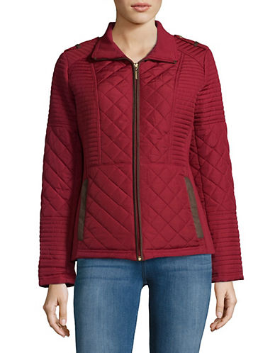 Weatherproof Quilted Puffer Jacket-DARK RED-Small