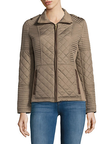 Weatherproof Quilted Puffer Jacket-CEMENT-2X