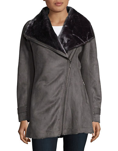 Weatherproof Asymmetrical Faux Shearling Coat-GRAPHITE-X-Large