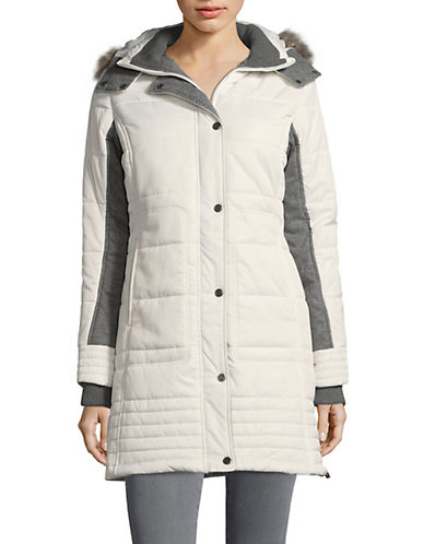 Weatherproof Mixed Media Puffer Jacket-WHITE-Medium