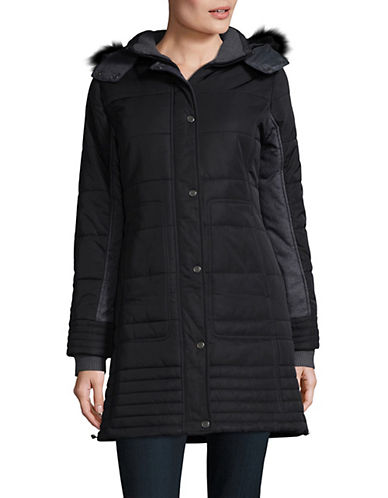 Weatherproof Mixed Media Puffer Jacket-BLACK-Large