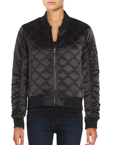 Weatherproof Quilted Satin Bomber Jacket-BLACK-X-Large