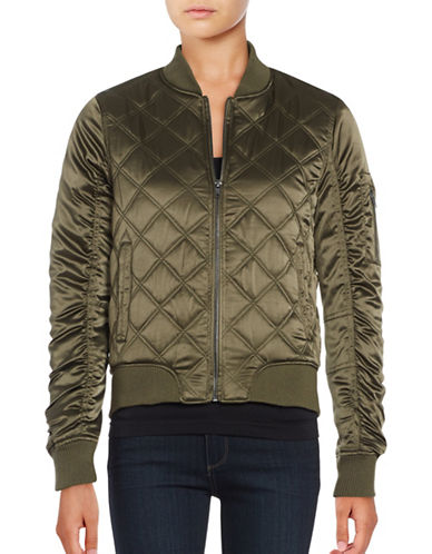 Weatherproof Quilted Satin Bomber Jacket-OLIVE-Small