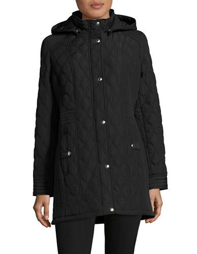 Weatherproof Quilted Hooded Walker Coat-BLACK-Medium