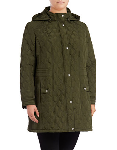 Weatherproof Quilted Hooded Walker Coat-GREEN-1X