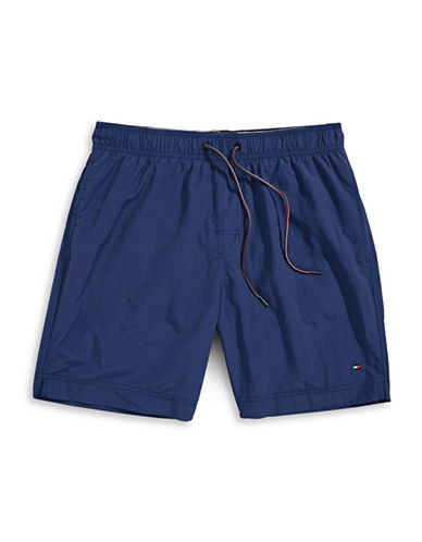 Tommy Hilfiger Tommy Solid Swim Trunks-PEACOAT BLUE-Large