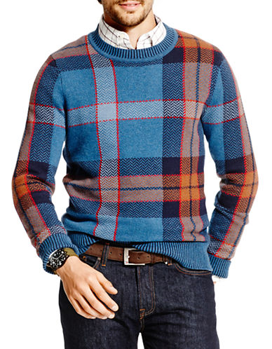 UPC 646130376860 product image for Tommy Hilfiger Chevron Plaid Sweater-CORONET BLUE-X-Large | upcitemdb.com