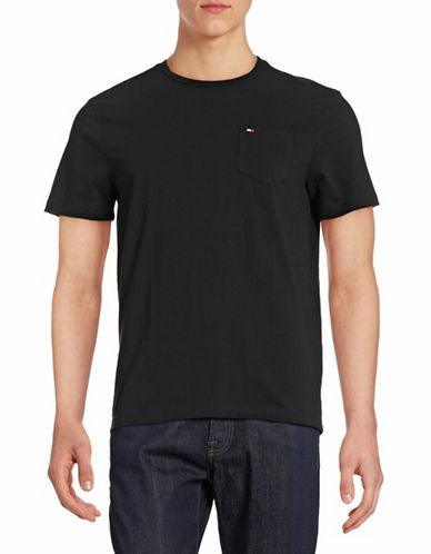 Tommy Hilfiger Solid Cotton T-Shirt-BLACK-Large