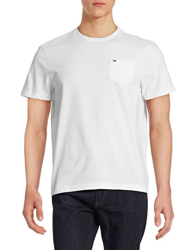 Tommy Hilfiger Solid Cotton T-Shirt-CLASSIC WHITE-Large