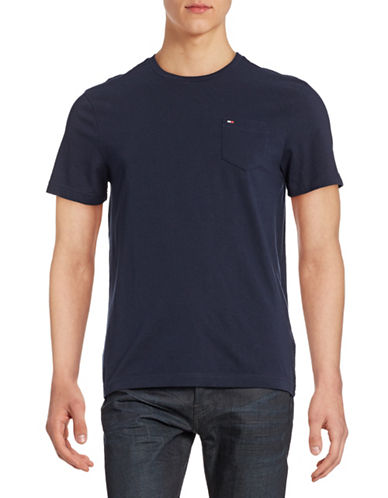 Tommy Hilfiger Solid Cotton T-Shirt-MASTERS NAVY-Small