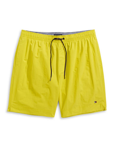 Tommy Hilfiger Solid Swim Trunks-BLAZING YELLOW-4X Tall