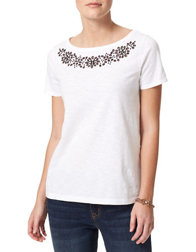 Tommy Hilfiger Laser Cut Floral Top-WHITE-Small