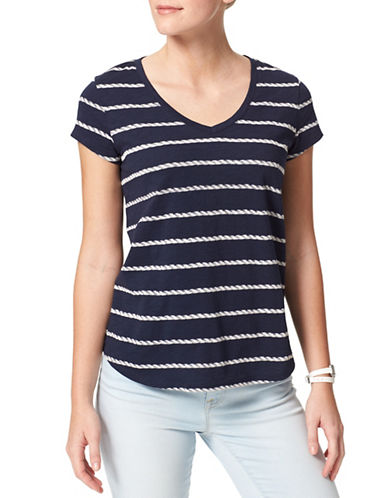 Tommy Hilfiger Rope Stripe V-Neck T-Shirt-BLUE-Small 88488557_BLUE_Small