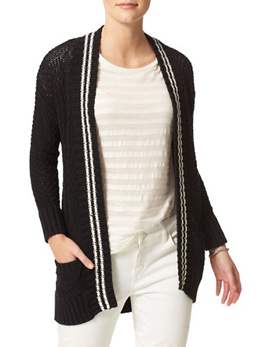 Tommy Hilfiger Tipped Open-Front Cardigan-BLACK-Small 88580140_BLACK_Small
