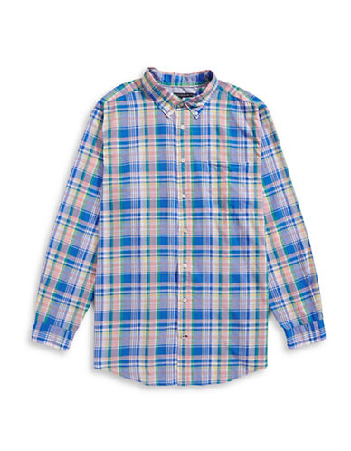 Tommy Hilfiger Big and Tall Classic-Fit Noland Plaid Cotton-Linen Shirt-DORY BLUE-2X Tall