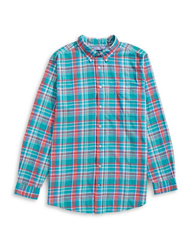 Tommy Hilfiger Big and Tall Classic-Fit Noland Plaid Cotton-Linen Shirt-LAKE BLUE-2X Big