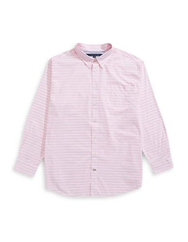 Tommy Hilfiger Big and Tall Classic-Fit Innis Marled Stripe Shirt-PINK-3X Tall