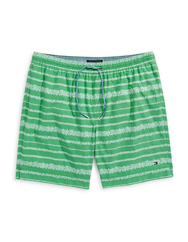 Tommy Hilfiger Big and Tall Coolidge Striped Swim Trunks-KELLY GREEN-1X Tall