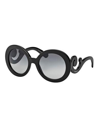 Prada Minimal Baroque Round Sunglasses-BLACK-One Size