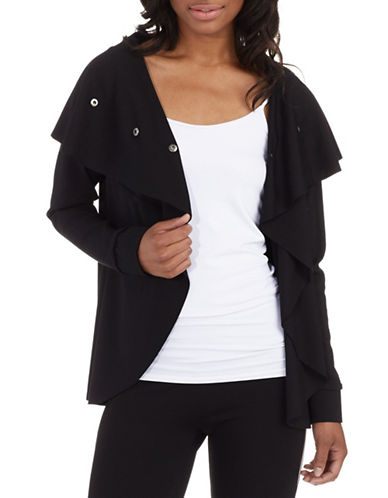 Kensie Snap Front Ponte Cardigan-BLACK-X-Small 86922865_BLACK_X-Small