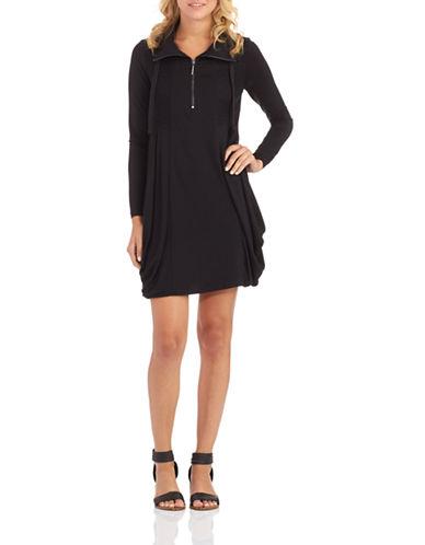 Kensie Long Sleeve Quarter Zip Dress-BLACK-X-Large 87053436_BLACK_X-Large