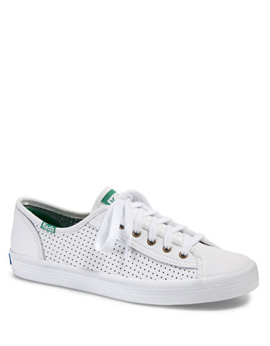 Keds Womens Kickstart Perforated Leather Sneakers-WHITE-8.5