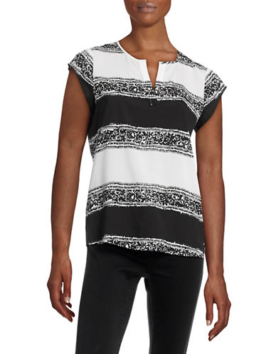 Ivanka Trump Printed Split Neck Top-WHITE MULTI-X-Small plus size,  plus size fashion plus size appare