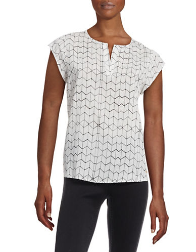 Ivanka Trump Geo Print Split Neck Top-WHITE-Large plus size,  plus size fashion plus size appare
