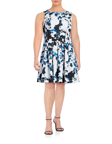 Ivanka Trump Printed Fit-and-Flare Dress-BLUE-14W