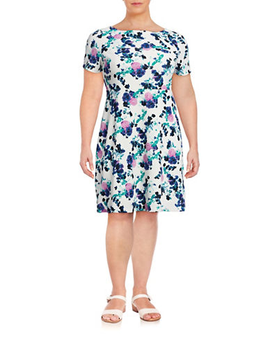 Ivanka Trump Plus Waffle Knit Floral A-Line Dress-WHITE-16W