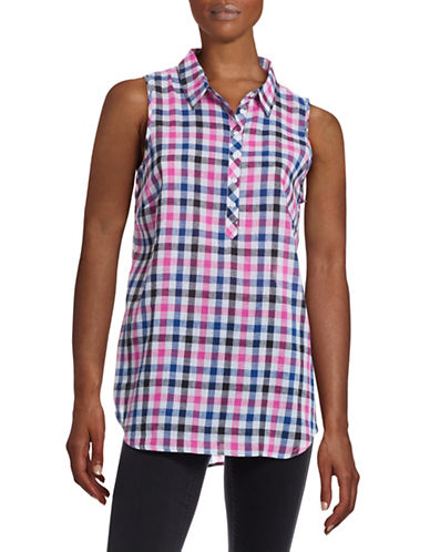 G.H. Bass & Co. Checkered Linen-Blend Placket Tank-PINK-X-Small 88458208_PINK_X-Small