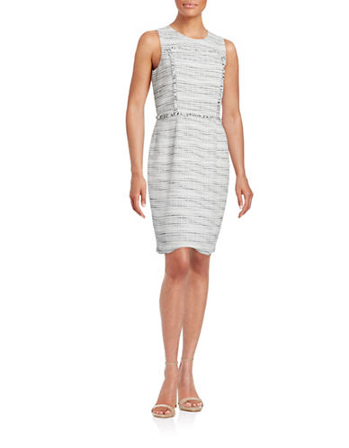Karl Lagerfeld Paris Fringed Tweed-Like Sheath Dress-WHITE-10