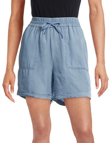 G.H. Bass & Co. Cuffed Chambray Drawstring Shorts-BLUE-X-Small