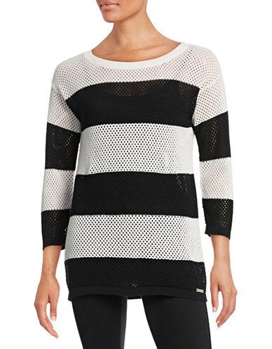 Karl Lagerfeld Paris Striped Mesh Sweater-BLACK-Large 88313214_BLACK_Large