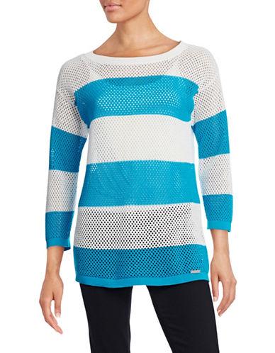 Karl Lagerfeld Paris Striped Mesh Sweater-BLUE-Large 88313219_BLUE_Large