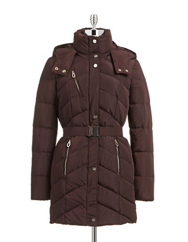 Ivanka Trump Belted Hooded Parka-RED-Small