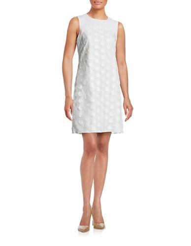 Karl Lagerfeld Paris Sleeveless Jacquard Combo Dress-WHITE-6