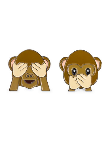 Drake General Store Two-Piece Monkey Emojis Pin Set-BROWN-One Size