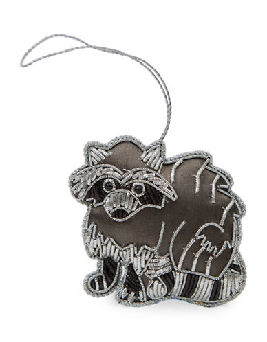 Drake General Store Racoon Embroidered Ornament-GREY-One Size