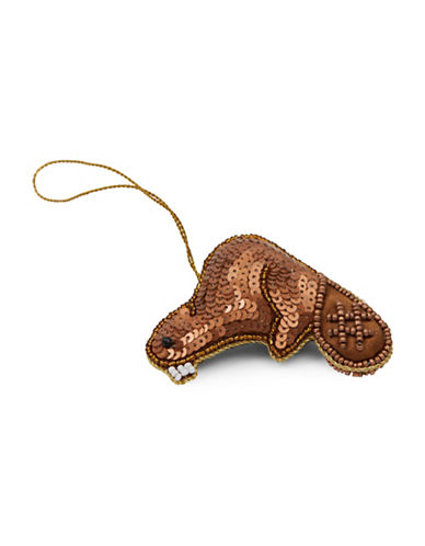 Drake General Store Beaver Embroidered Ornament-BROWN-One Size