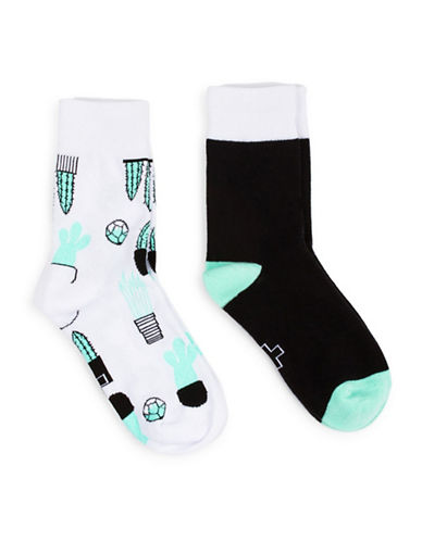 Drake General Store Womens Two-Piece Cactus Socks Set-GREEN-One Size