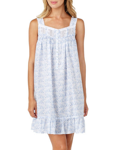 Eileen West Cotton Lawn Chemise-BLUE-Small