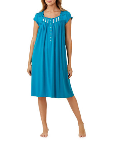 Eileen West Ruffle Waltz Nightgown-BLUE-Large