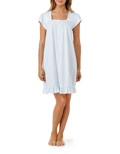 Eileen West Cotton Queen Anne Nightgown-BLUE-Medium