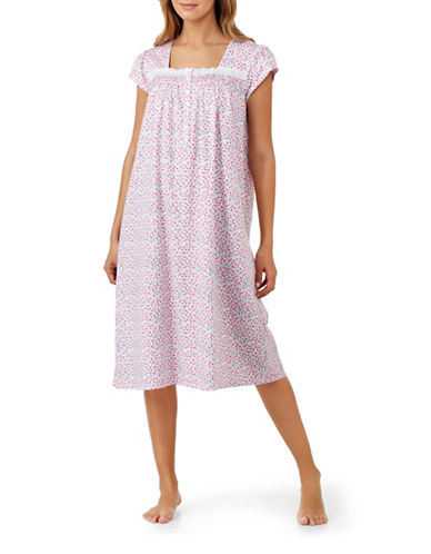 Eileen West Cotton Floral Nightgown-PINK-Medium