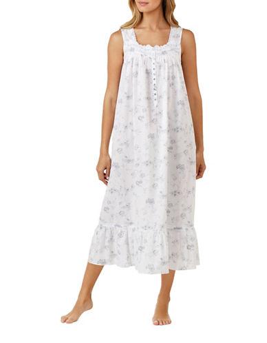 Eileen West Ballet Cotton Nightgown-GREY-Medium