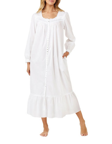 Eileen West Ballet Cotton Robe-WHITE-Medium